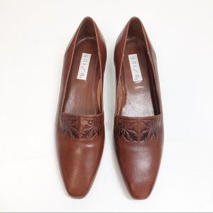 Unisa Brown Leather Embossed Narrow Flats